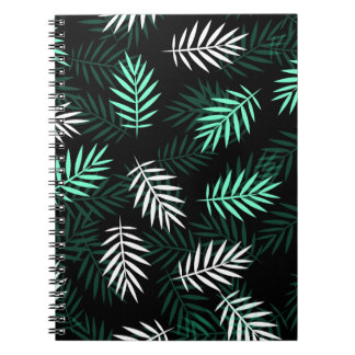 Elegant White and Green Palm Leaves | Notebook
