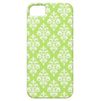 Elegant White and Lime Green Damask Barely There iPhone 5 Case