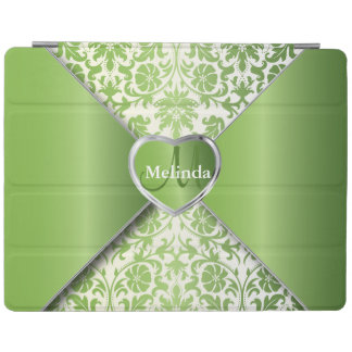 Elegant White and Peridot Green Damask Pattern iPad Cover