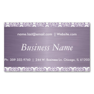 Elegant White and Purple Steel Damask Magnetic Business Cards