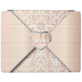 Elegant White and Rose Damask Pattern iPad Cover