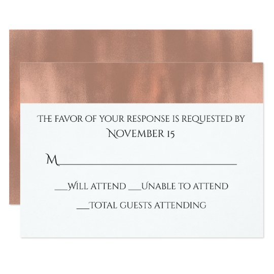 Elegant White and Rose Gold Wedding Response Card