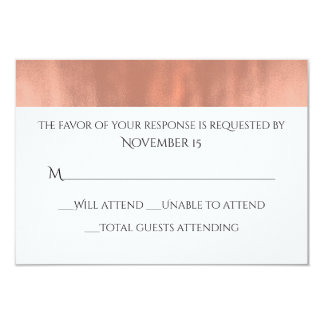 Elegant White and Rose Gold Wedding Response Card 9 Cm X 13 Cm Invitation Card