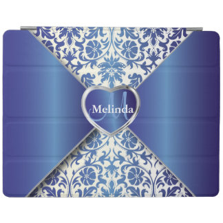 Elegant White and Sapphire Blue Damask Pattern iPad Cover