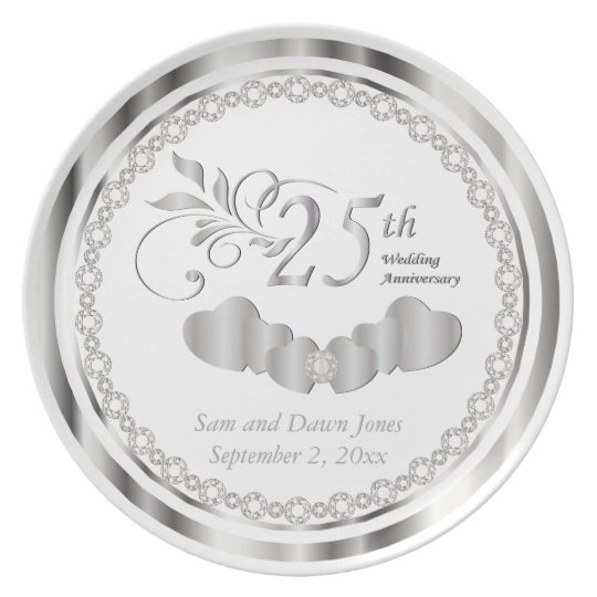 Elegant White and Silver Anniversary Keepsake Plate