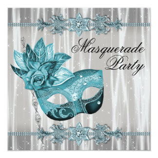 Elegant White and Teal Blue Masquerade Party 13 Cm X 13 Cm Square Invitation Card