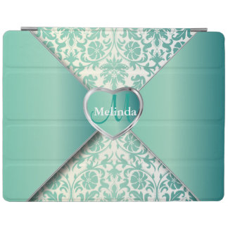 Elegant White and Teal Damask Pattern iPad Cover