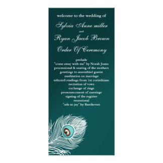 Elegant white and teal peacock programs rack card