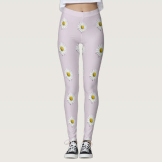 Elegant White and Yellow Daisy Leggings