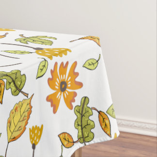 Elegant white and yellow fall floral pattern tablecloth