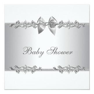Elegant White Baby Shower Invitations