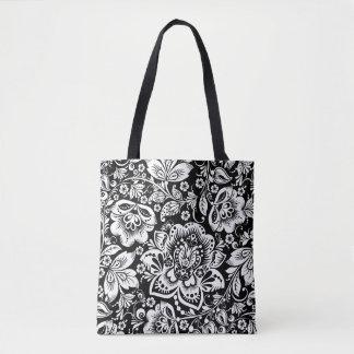 Elegant White Baroque Floral Damasks Pattern Tote Bag