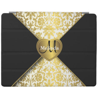 Elegant White, Black and Gold Damask Pattern iPad Cover