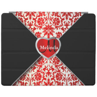 Elegant White, Black and Red Damask Pattern iPad Cover