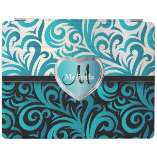 Elegant White, Black & Blue Swirl Floral Pattern iPad Cover