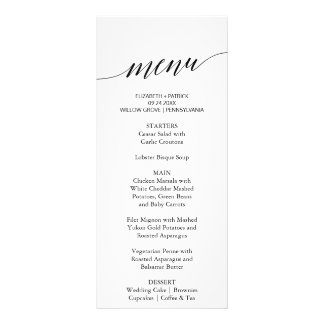 Elegant White & Black Calligraphy Dinner Menu Card