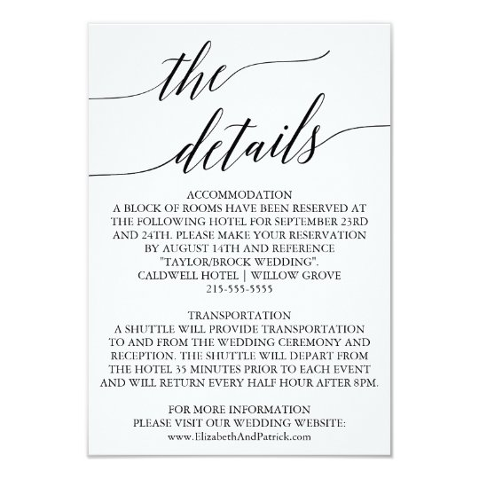 Elegant White & Black Calligraphy Wedding Details Card