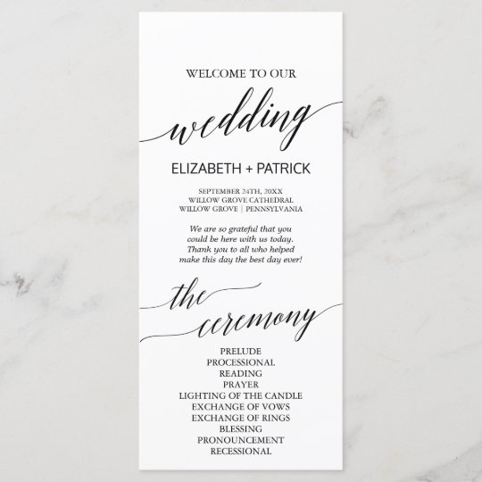 Elegant White & Black Calligraphy Wedding Program Programme