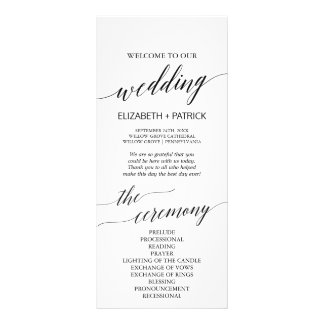 Elegant White & Black Calligraphy Wedding Program Rack Card