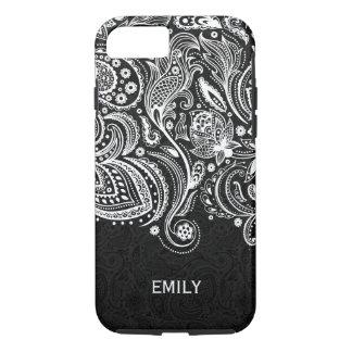 Elegant White & Black Floral Paisley Lace 2 iPhone 8/7 Case