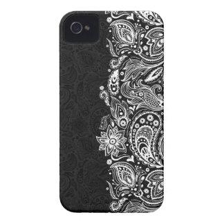 Elegant White & Black Floral Paisley Lace Case-Mate iPhone 4 Case