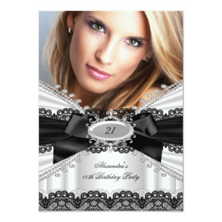 Elegant White Black Lace Bow Birthday Party 2 Personalized Announcements