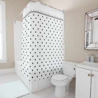 Elegant White Black Polka Dot Spots Pattern Shower Curtain
