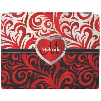 Elegant White, Black & Red Swirl Floral Pattern iPad Cover