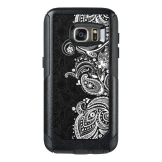 Elegant White & Black Vintage Paisley Lace OtterBox Samsung Galaxy S7 Case