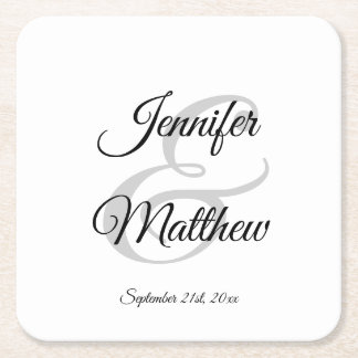 Elegant White Black Wedding gift favors - Monogram Square Paper Coaster