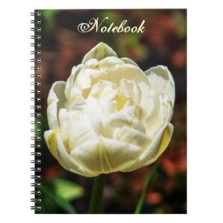 Elegant White Blossoming Flower Spiral Notebook