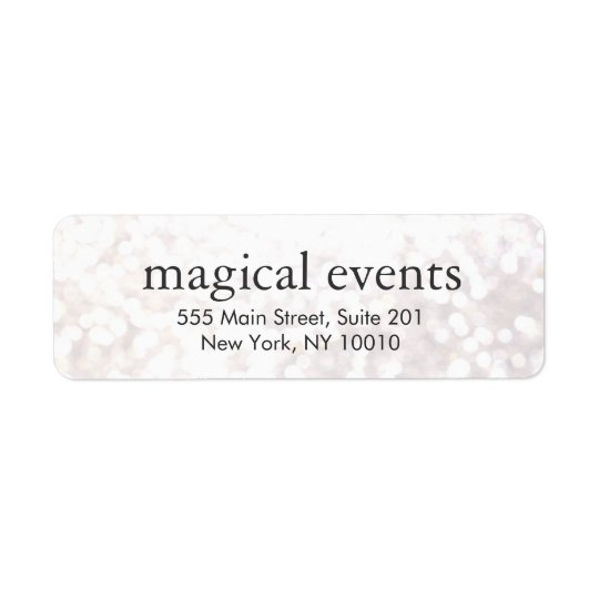 Elegant White Bokeh Glitter Look Address Label