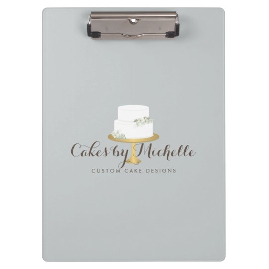 Elegant White Cake with Florals Cake Decorating Clipboard