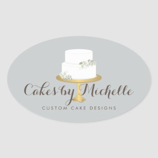 Elegant White Cake with Florals Cake Decorating Oval Sticker