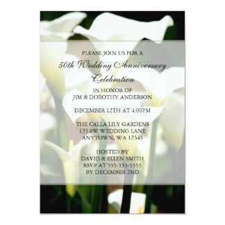Elegant White Calla Lily 50th Wedding Anniversary Card