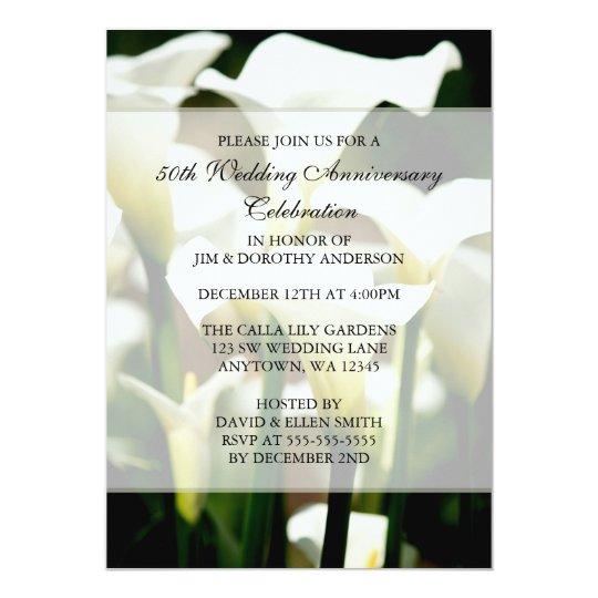 Elegant White Calla Lily 50th Wedding Anniversary Card
