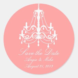 Elegant White Chandelier Save the Date Wedding Round Sticker
