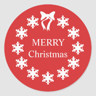 Elegant White Christmas Red Snowflakes Classic Round Sticker