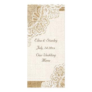 Elegant white corner lace on burlap wedding menu rack cards