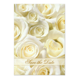 Elegant white-cream roses Save the Date Invitation