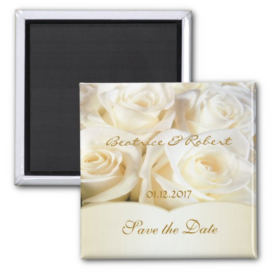 Elegant White - cream roses Save the date