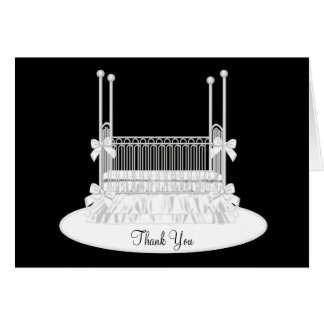 Elegant White Crib Baby Shower Thank You Cards