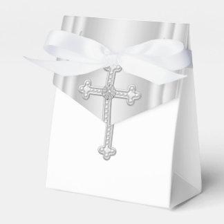Elegant White Cross First Communion Wedding Favor Boxes
