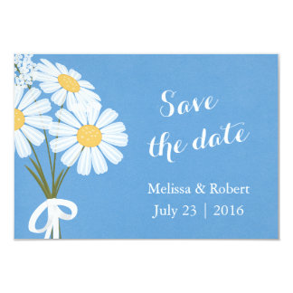 Elegant White Daisies Blue Save the Date Wedding Card