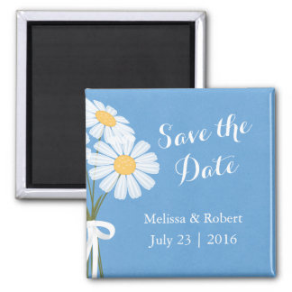 Elegant White Daisies Blue Save the Date Wedding Square Magnet