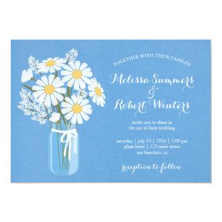Elegant White Daisies Mason Jar on Blue Wedding Card