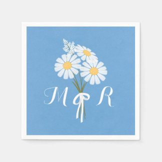 Elegant White Daisies on Blue Monogram Wedding Paper Serviettes
