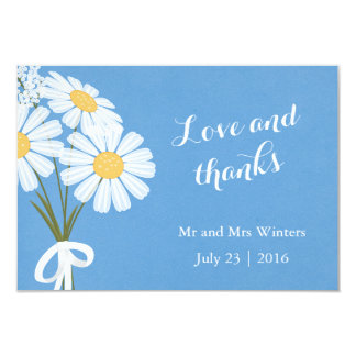 Elegant White Daisies on Blue Thank You Wedding Card