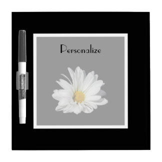 Elegant White Daisy Flower With Name Dry Erase Board