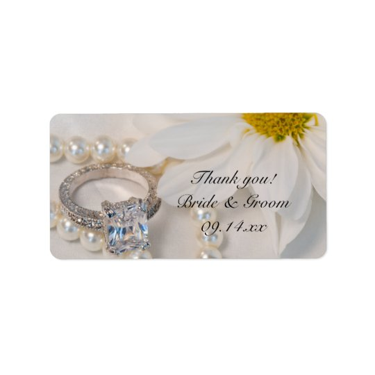 Elegant White Daisy Wedding Thank You Favour Tags Address Label